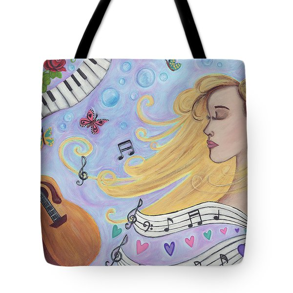 She Dreams In Music Tote Bag