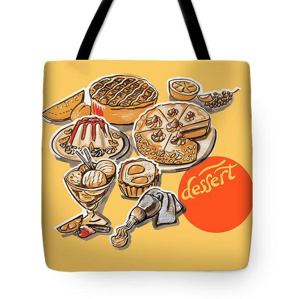 Kitchen Illustration Of Menu Of Desserts  Tote Bag