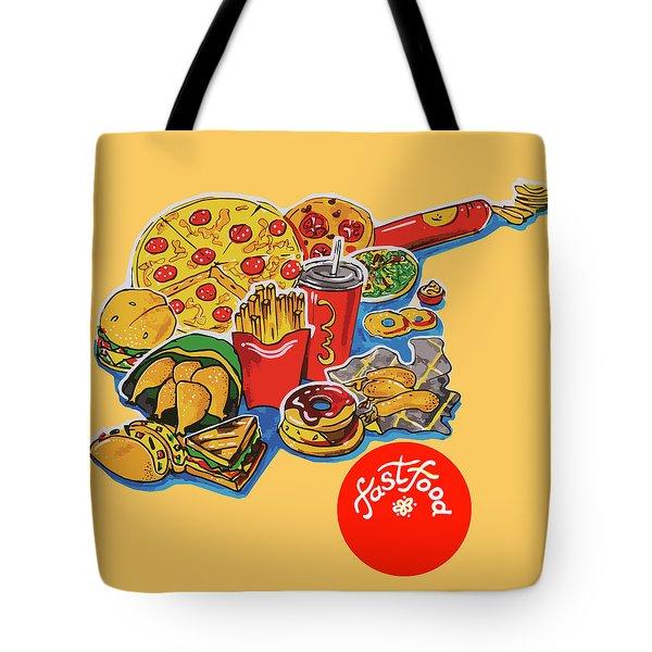 Kitchen Illustration Of Menu Of Fast Food  Tote Bag