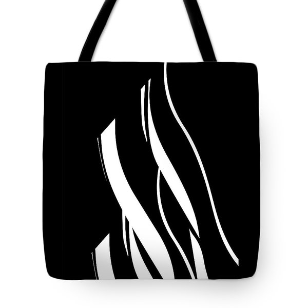 Tote Bag featuring the digital art Organic No 17 Black And White Minimalism by Menega Sabidussi