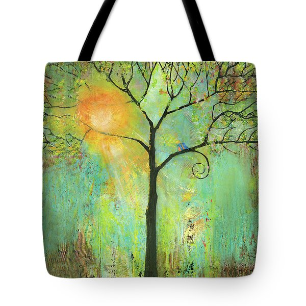 Hello Sunshine Tree Birds Sun Art Print Tote Bag