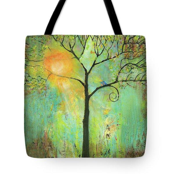 Hello Sunshine Tree Birds Sun Art Print Tote Bag