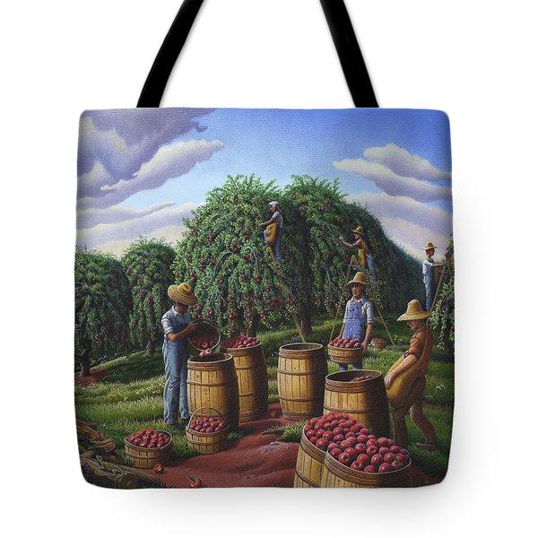 Apple Harvest - Autumn Farmers Orchard Farm Landscape - Folk Art Americana Tote Bag