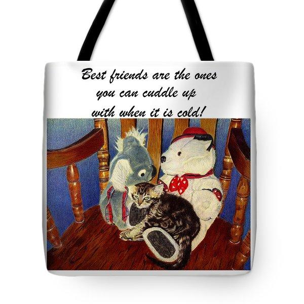 Rocking With Friends - Kitten And Stuffed Animals Painting Tote Bag