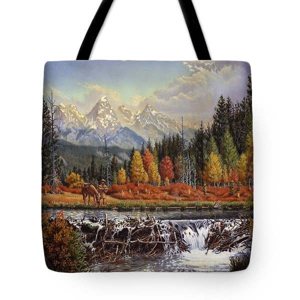 Western Mountain Landscape Autumn Mountain Man Trapper Beaver Dam Frontier Americana Oil Painting Tote Bag by Walt Curlee