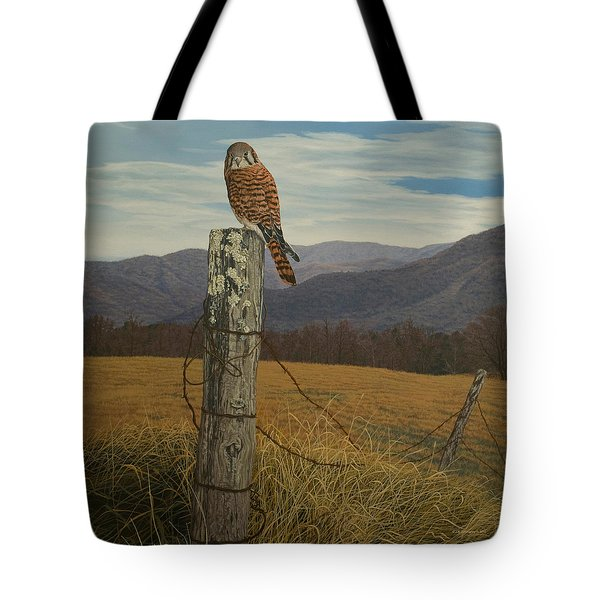 Smoky Mountain Hunter-american Kestrel Tote Bag by James Willoughby III
