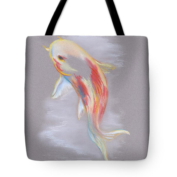 Tote Bag featuring the pastel Koi Fish Swimming by MM Anderson