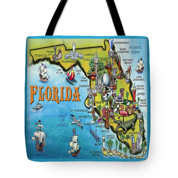 Florida Cartoon Map Tote Bag by Kevin Middleton