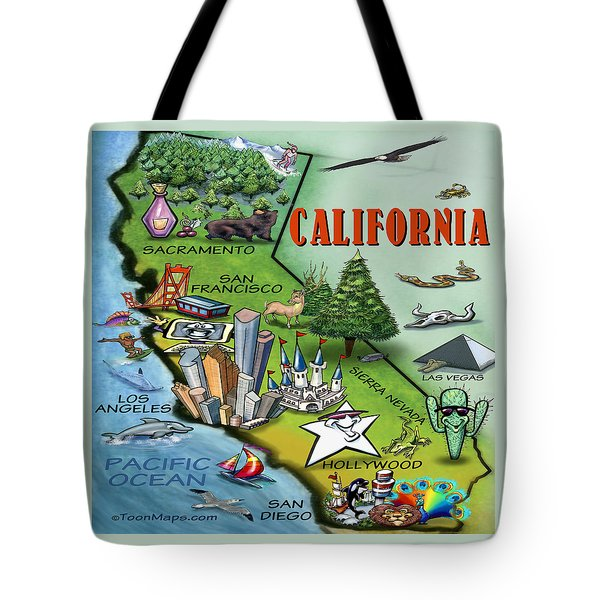California Cartoon Map Tote Bag by Kevin Middleton