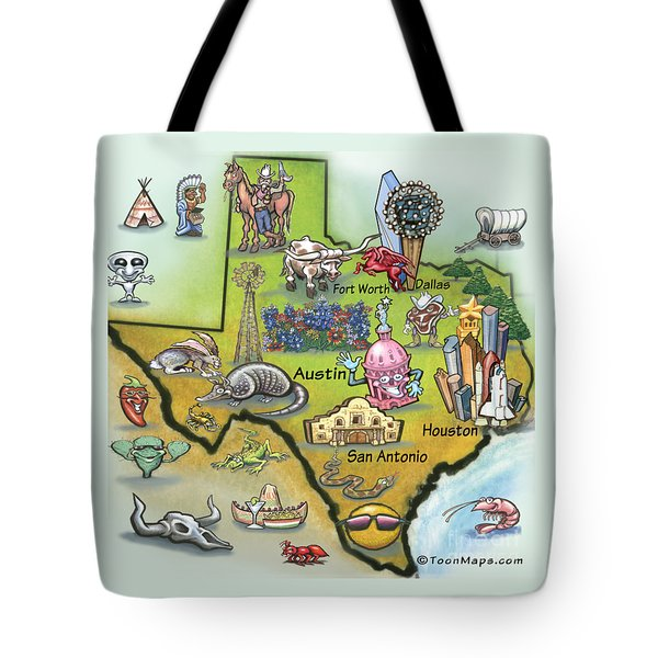 Texas Cartoon Map Tote Bag by Kevin Middleton