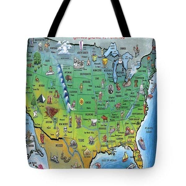 Usa Cartoon Map Tote Bag