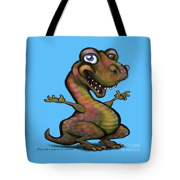 Baby T-rex Blue Tote Bag by Kevin Middleton