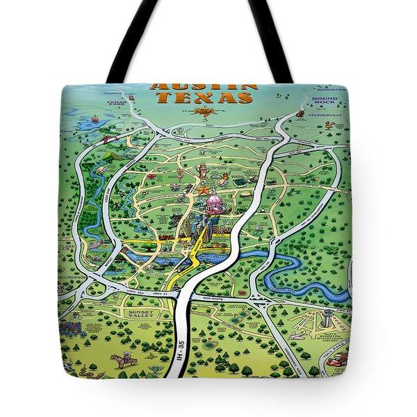 Austin Tx Cartoon Map Tote Bag