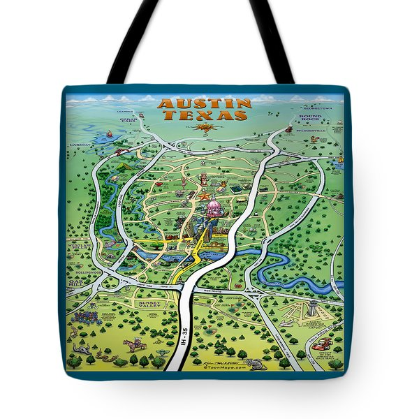 Austin Tx Cartoon Map Tote Bag by Kevin Middleton