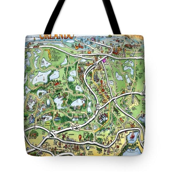 Orlando Florida Cartoon Map Tote Bag