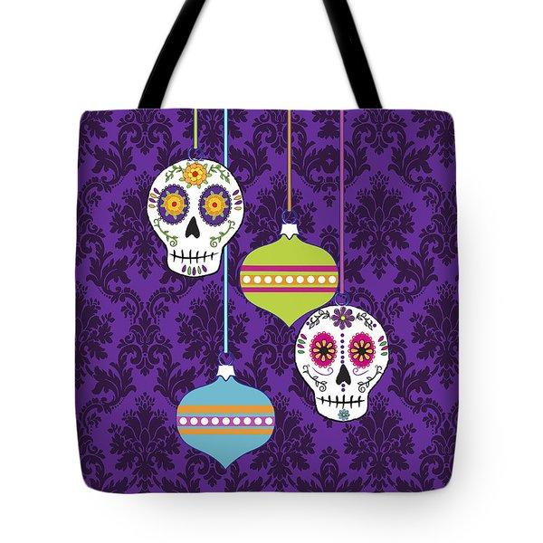 Feliz Navidad Holiday Sugar Skulls Tote Bag by Tammy Wetzel