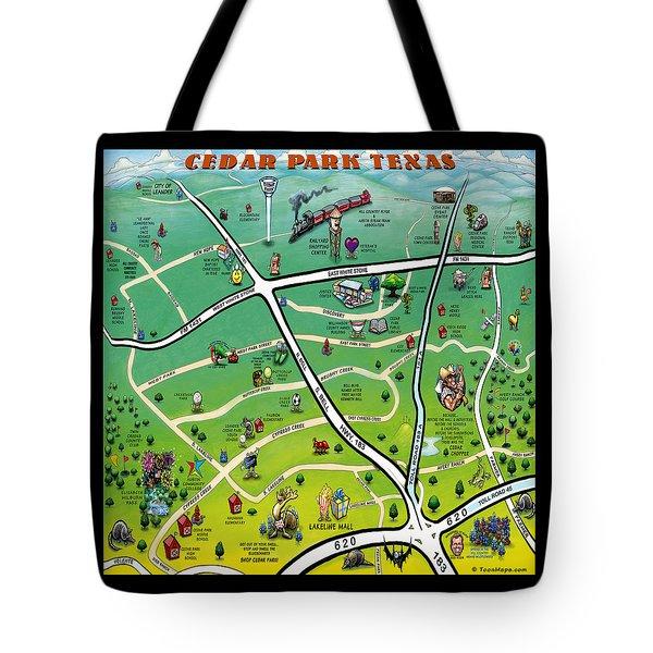 Cedar Park Texas Cartoon Map Tote Bag