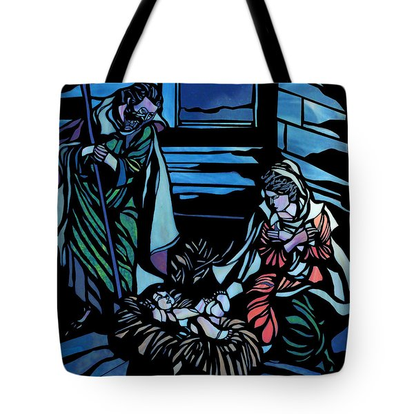 Nativity Stained Glass Tote Bag by Methune Hively