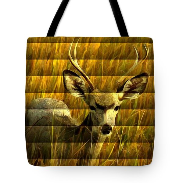The Buck Poses Here Tote Bag by Bill Kesler