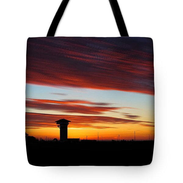 Sunrise Over Golden Spike Tower Tote Bag by Bill Kesler