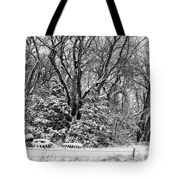 Three Tires And A Snowstorm Tote Bag