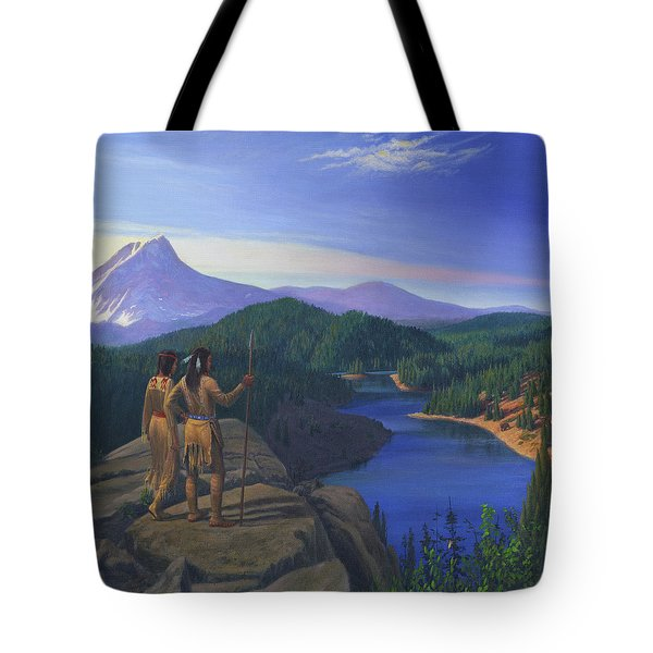 Native American Indian Maiden And Warrior Watching Bear Western Mountain Landscape Tote Bag by Walt Curlee