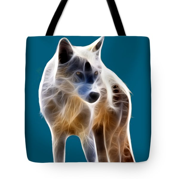 Glowing Wolf Tote Bag by Shane Bechler