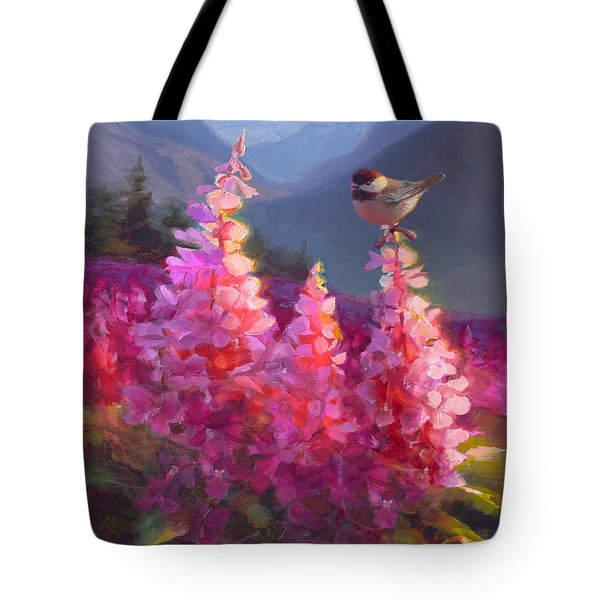 Eagle River Summer Chickadee And Fireweed Alaskan Landscape Tote Bag by Karen Whitworth