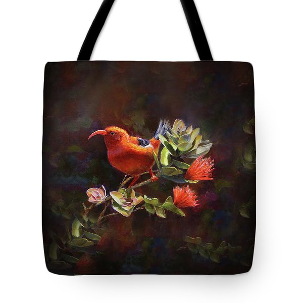 Hawaiian IIwi Bird And Ohia Lehua Flower Tote Bag