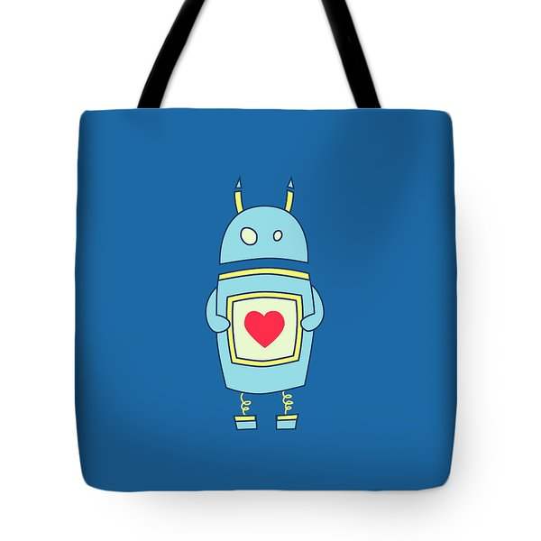 Blue Cute Clumsy Robot With Heart Tote Bag