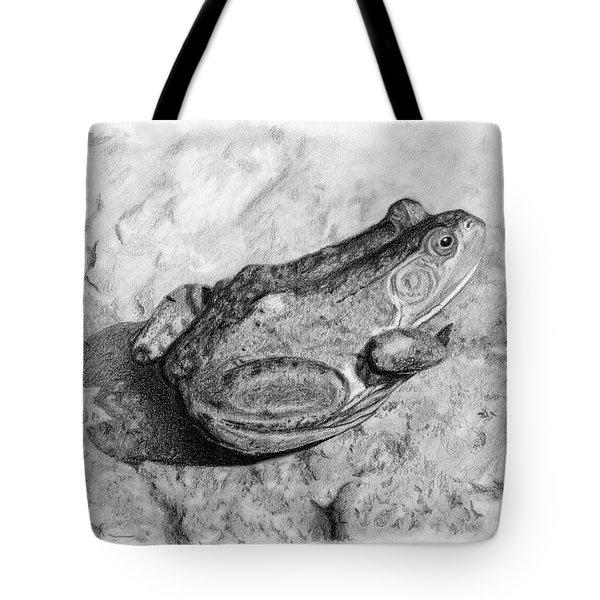 Frog On Rock Tote Bag
