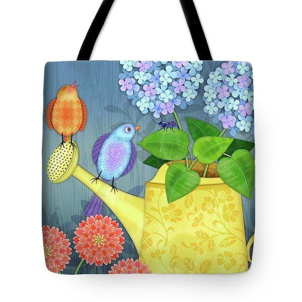 Two Birds On A Watering Can Tote Bag