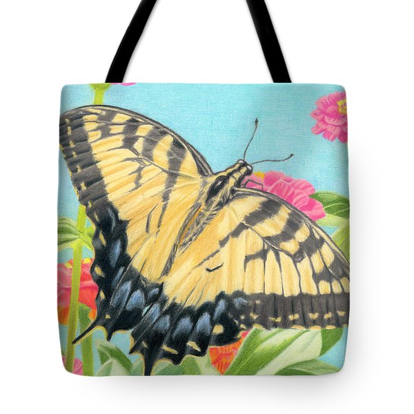 Swallowtail Butterfly And Zinnias Tote Bag