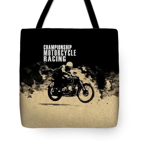 Crystal Palace Motorcycle Racing Tote Bag by Mark Rogan
