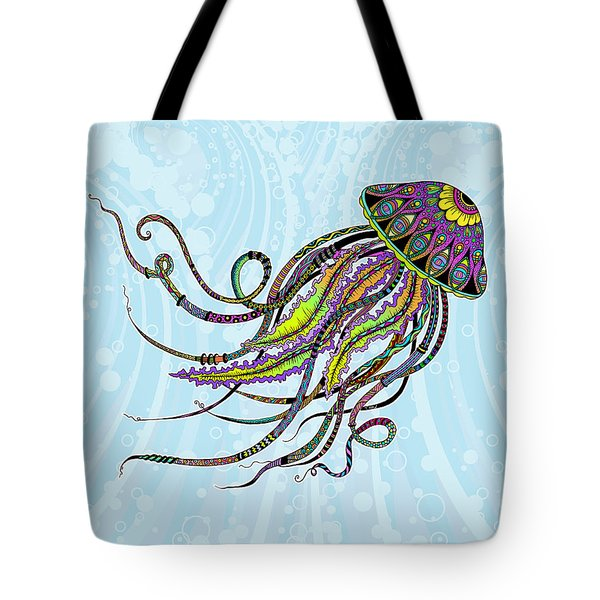 Tote Bag featuring the drawing Electric Jellyfish by Tammy Wetzel