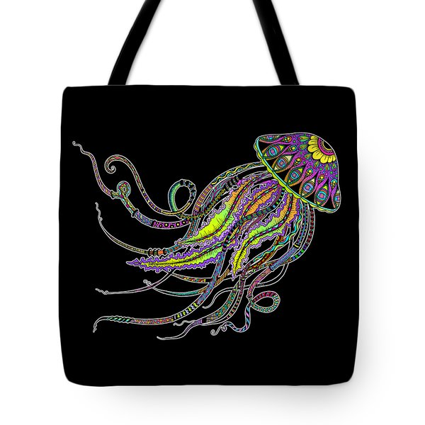 Tote Bag featuring the drawing Electric Jellyfish On Black by Tammy Wetzel