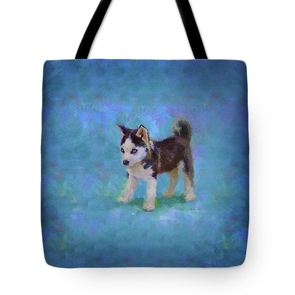 Alaskan Husky Sled Dog Puppy Tote Bag