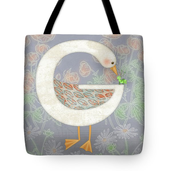 G Is For Goose And Grasshopper Tote Bag by Valerie Drake Lesiak