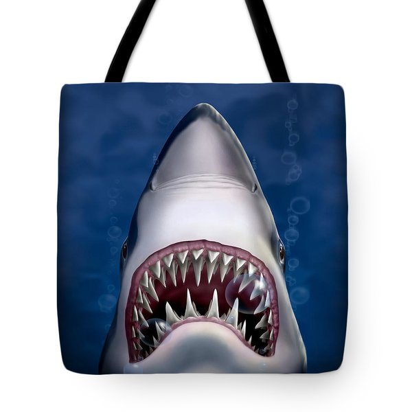 Jaws Great White Shark Art Tote Bag by Walt Curlee