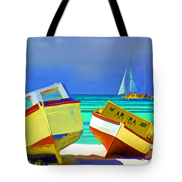 Aruba Boats Tote Bag by Dennis Cox WorldViews