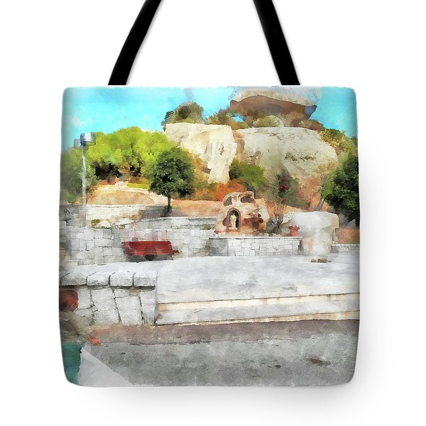 Arzachena Mushroom Rock With Children Tote Bag