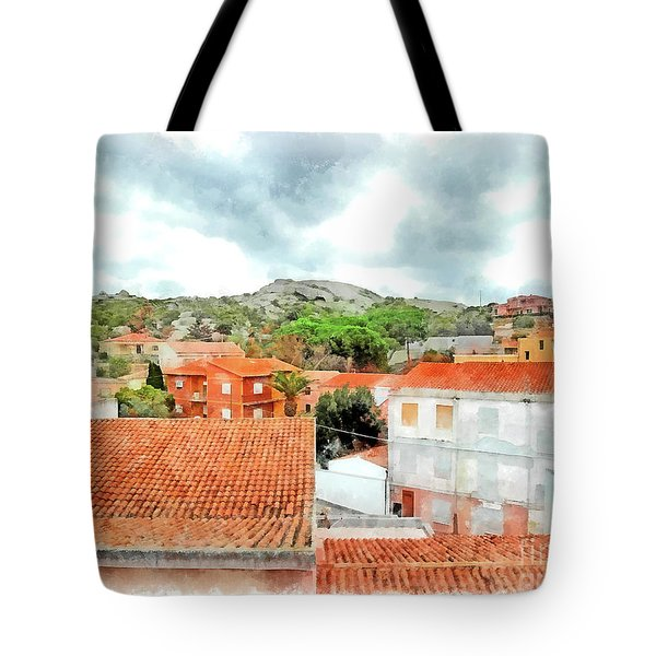 Arzachena Urban Landscape With Mountain Tote Bag