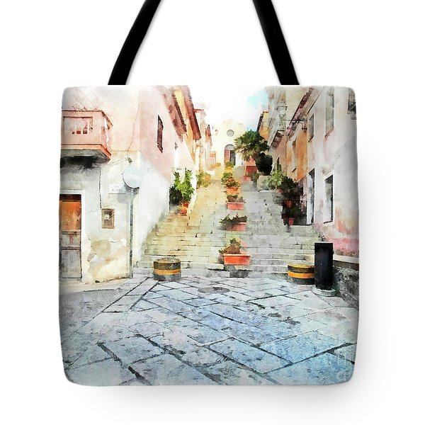 Arzachena View Staircase And Church Tote Bag
