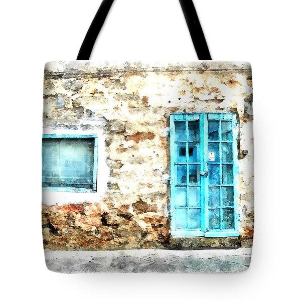 Arzachena Window And Blue Door Store Tote Bag