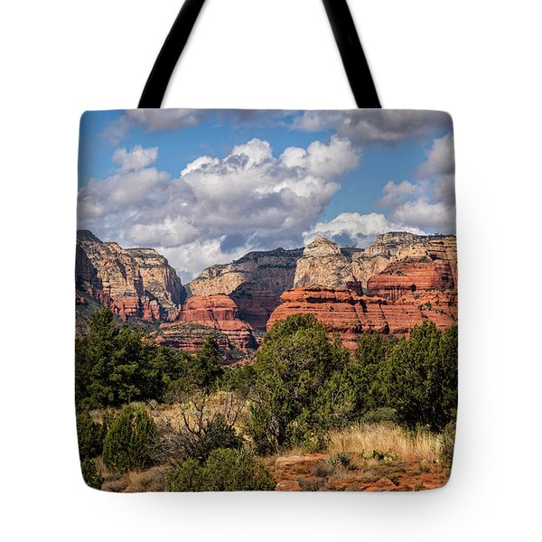 Tote Bag featuring the photograph As The Clouds Pass On By In Sedona  by Saija Lehtonen