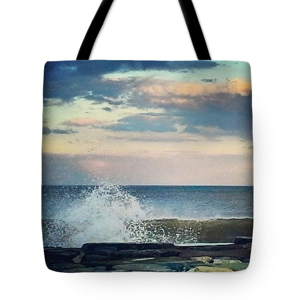 Wave Splashes As Sun Sets Tote Bag