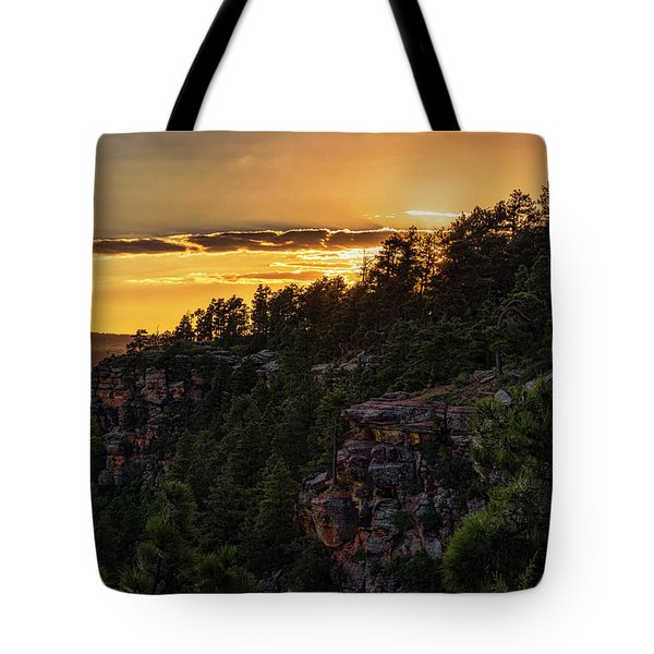 Tote Bag featuring the photograph As The Sun Sets On The Rim  by Saija Lehtonen