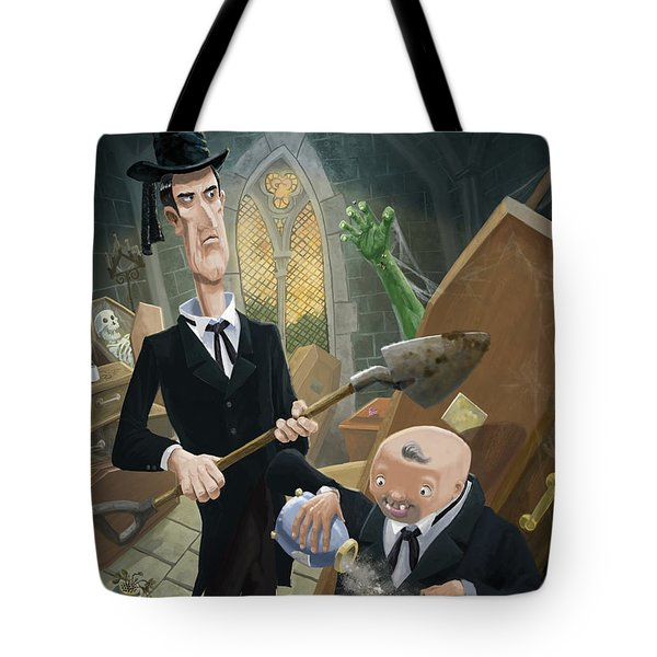Tote Bag featuring the digital art Ashes Fun In The Funeral Crypt by Martin Davey