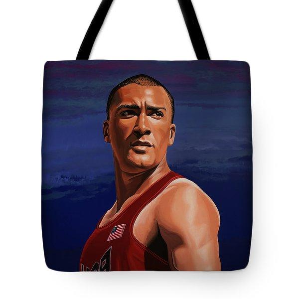 Ashton Eaton Painting Tote Bag by Paul Meijering