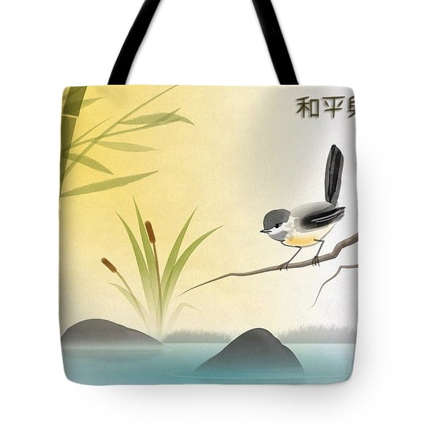 Asian Art Chickadee Landscape Tote Bag